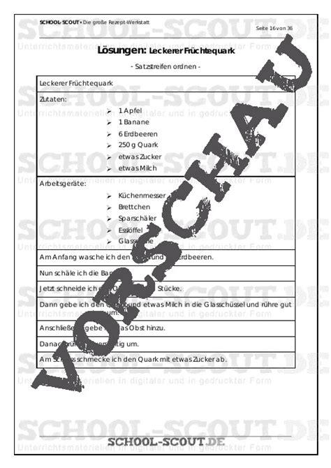 werkstatt scout die gro 223 e rezept werkstatt unterrichtsmaterial und