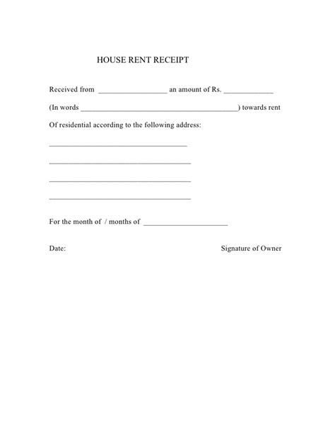 house rent receipt template india house rent receipt 2009