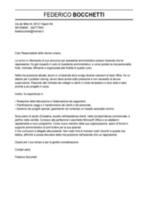 banca commerciale italiana spa esempio lettera di presentazione assistente amministrativo