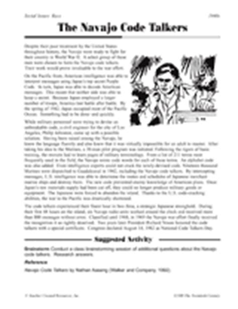 the navajo code talkers printable 5th 8th grade