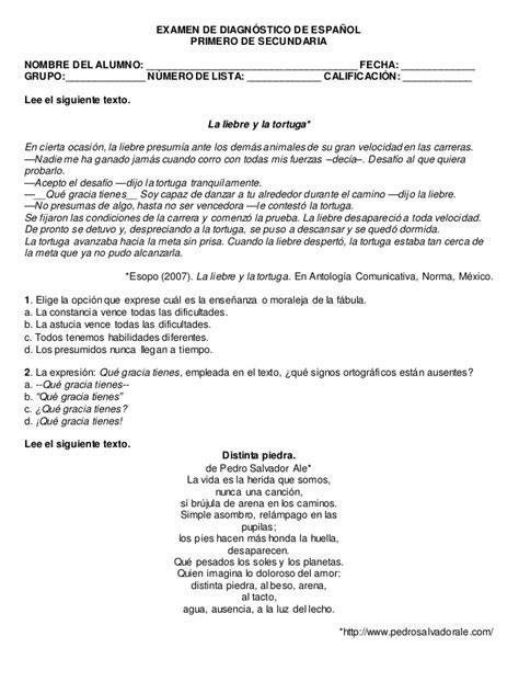 preguntas abiertas de ingles para secundaria examen de diagn 243 stico de espa 241 ol para primero de secundaria