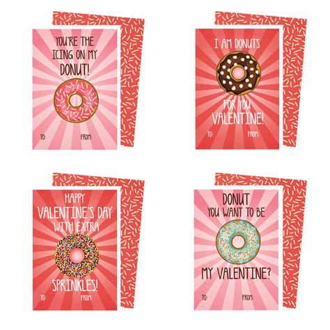 Valentines Gift Card - printable donuts valentines cards kateogroup
