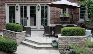 flagstone patio with planters traditional