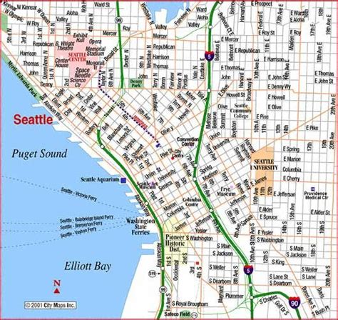printable seattle area map map of downtown seattle road map of seattle downtown