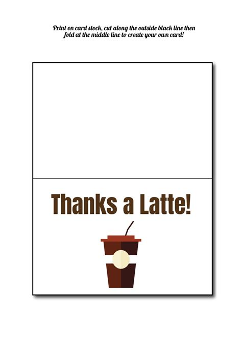 Thanks A Latte Card Template by Thanks A Latte Card Template Choice Image Professional