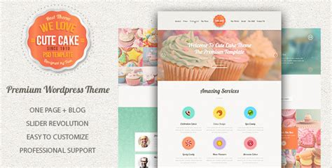cute themes for wordpress free download cute cake responsive one page wordpress theme by