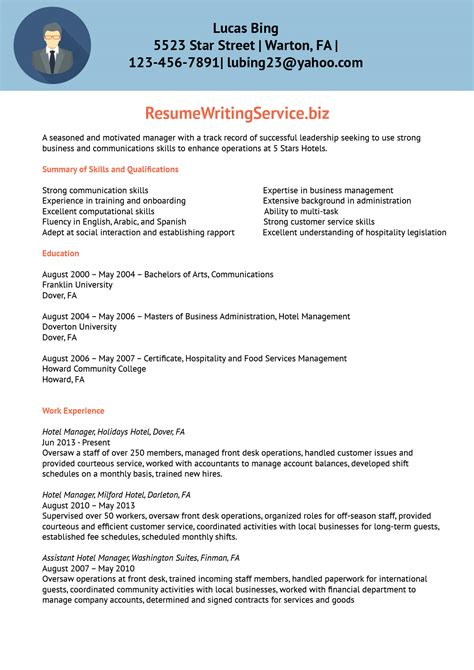 Undergraduate Resume Sample by Hotel Manager Resume Sample