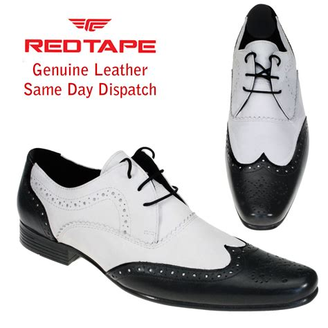 black and white genuine leather mens dress shoes formal