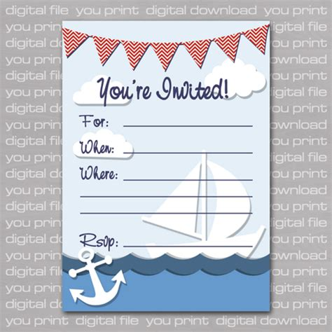 printable nautical invitation template nautical baby shower invitations templates theruntime com