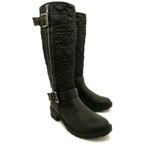 Quilted Boots by New Womens Quilted Leather Style Buckled Shearling Lined