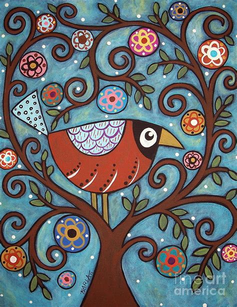 pattern bird art funky bird painting by karla gerard