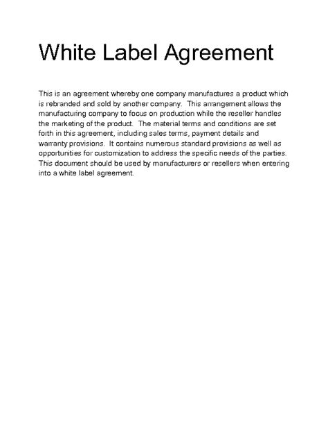 white label agreement template welcome to docs 4 sale product details
