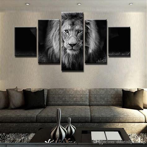 modern  panel black  white animal lion canvas