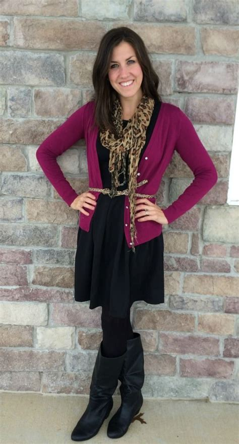 wine colored cardigan black dress leopard scarf belt with wine colored