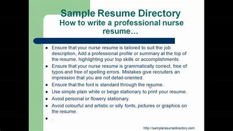 how to write a professional nurse resume mp4 youtube