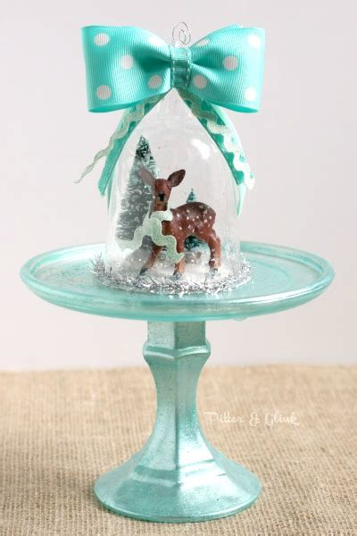Handmade Snow Globe - pitterandglink handmade deer snow globe ornament