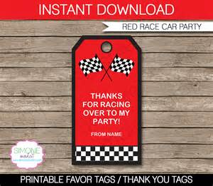 thank you favor tags template race car favor tags thank you tags