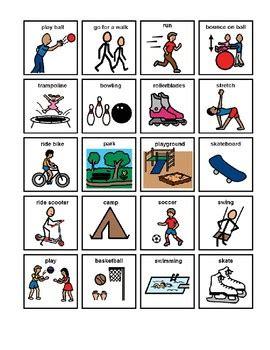 physical activity picture communication symbols