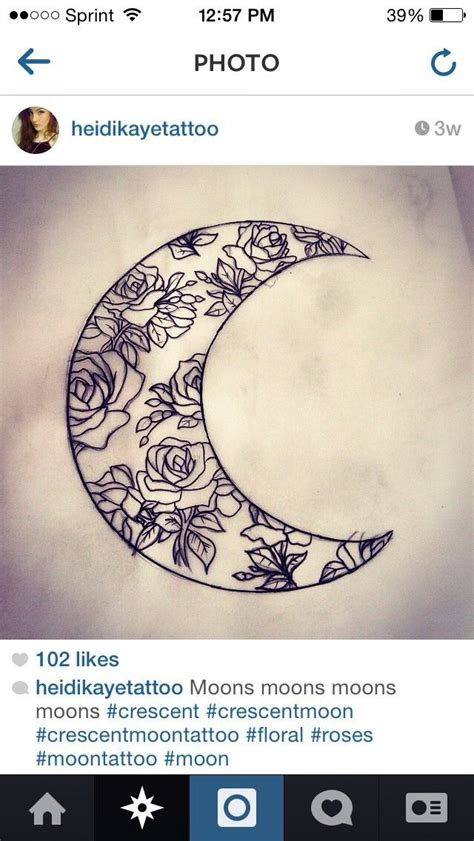 pattern moon tattoo floral crescent moon pattern tattoos pinterest heart