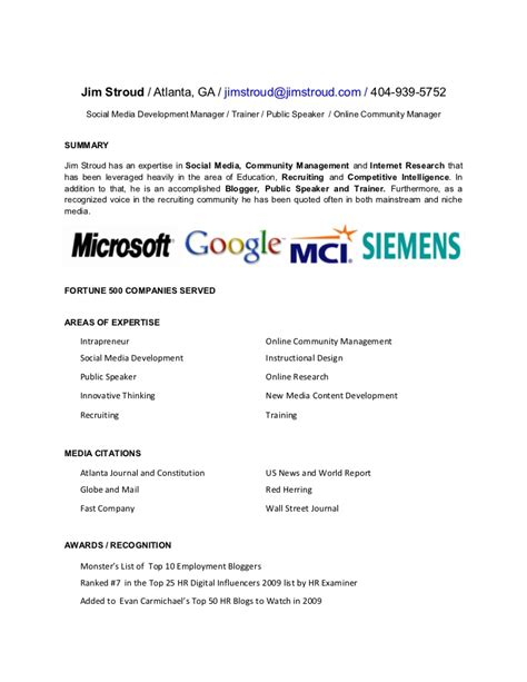 Resume Sle For Media 28 Social Media Coordinator Resume Sle Social Media Marketing Resume Community Manager Cover