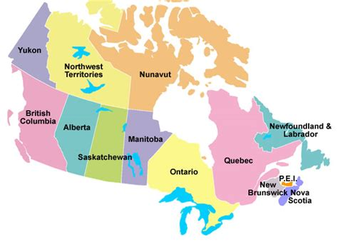 map showing us states and canadian provinces ambassadors
