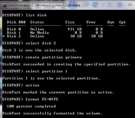 diskpart format while installing windows install windows 7 from a usb drive the very easy way