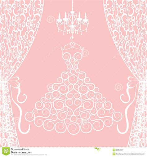 wedding dress curtains dress curtains and chandelier stock vector image 30810081