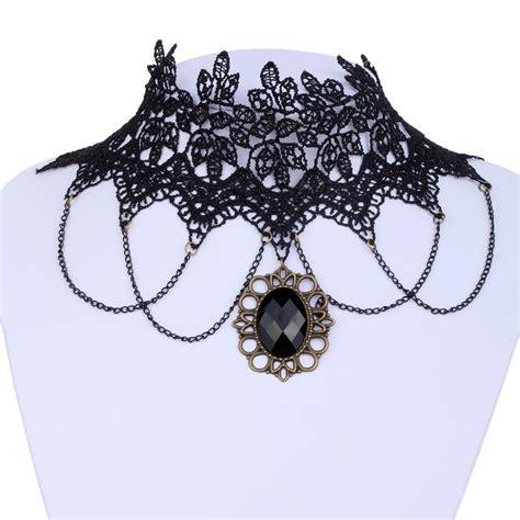Gemstone Lace Choker steunk retro lace gemstone pendant choker skiverr