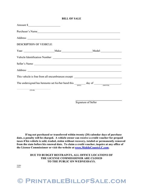 alabama boat bill of sale pdf free mobile county alabama motor vehicle bill of sale form