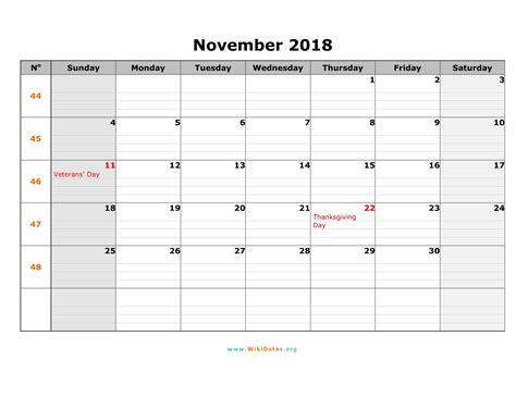 Calendar Nov 2018 November 2018 Calendar Pdf 2018 Yearly Calendar