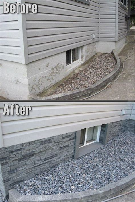 great way to hide the foundation wall for the home - Outside Basement Wall Covering