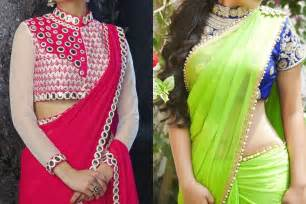 Plain saree with heavy work blouse ideas in india