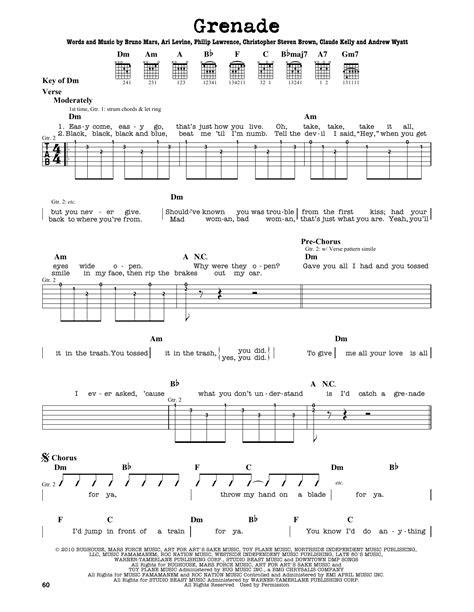 tutorial piano grenade grenade sheet music by bruno mars guitar lead sheet 163731