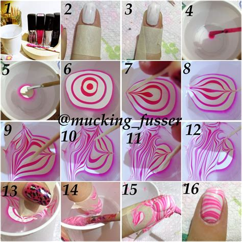 tutorial nail art water tutorial striped water marble mucking fusser