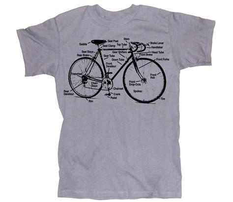 Bike Casual Tshirt mens bicycle t shirt diagram s m l xl silver gray