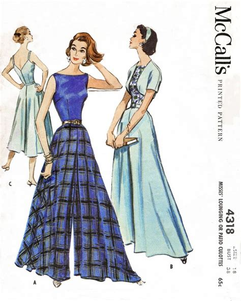 sewing pattern for palazzo pants mccall s 4318 1950s palazzo pants jumpsuit vintage sewing