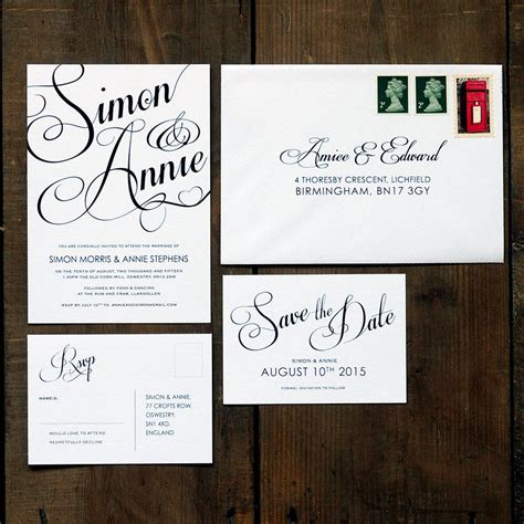 classic script wedding invitation set by feel wedding invitations notonthehighstreet