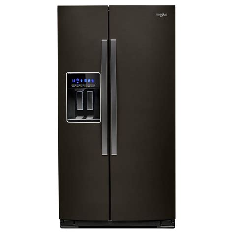 whirlpool 36 in w 28 cu ft side by side refrigerator in fingerprint resistant black stainless