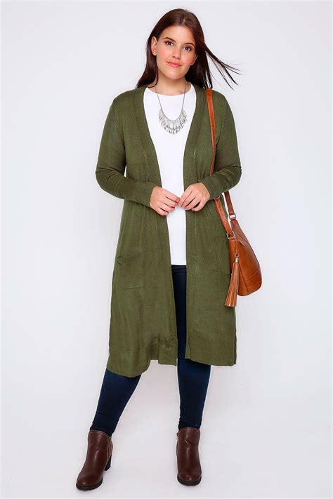 plus size knit with pockets khaki maxi knit cardigan with pockets plus size 16 to 36