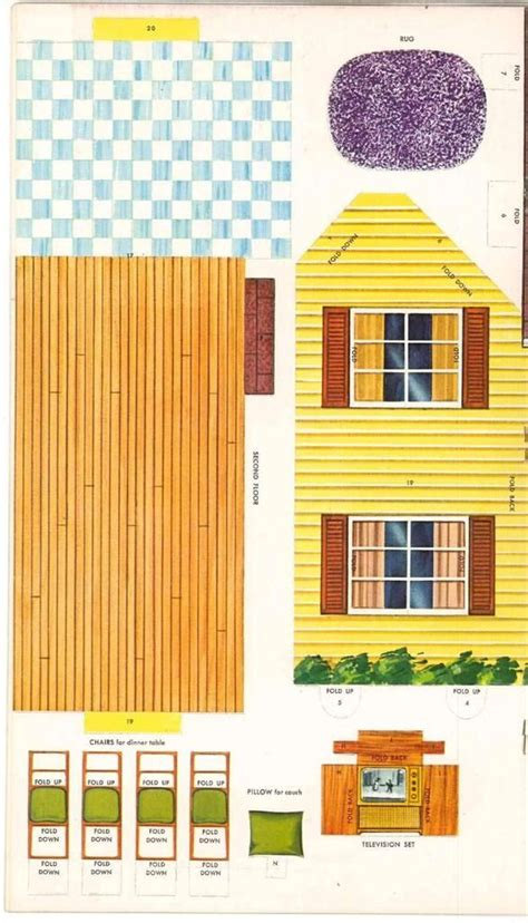 Papercraft Dollhouse - dollhouse 1962 press or cut out books vintage