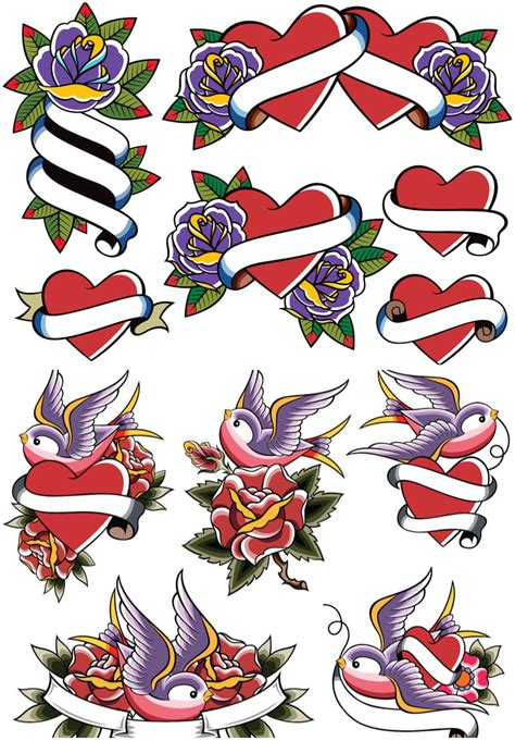 heart tattoos vector love style color tattoos with heart vector vector