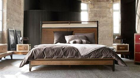 Masculine Bed Frames Masculine Wooden King Bed Frame With Headboard In Mid Century Modern Style With And Of 20