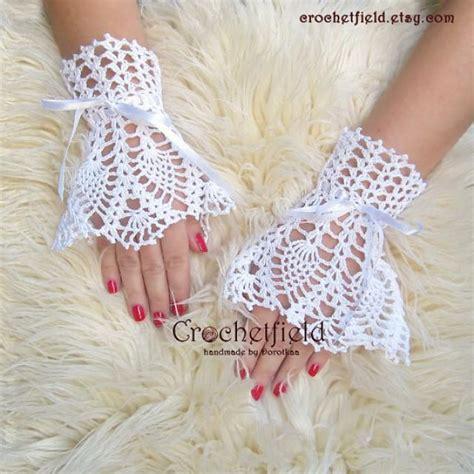 Crochet Handmade - crochet handmade white wrist cuffs with satin ribbon