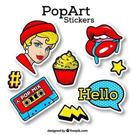 Pop Stickers pop sticker with classic style vector free