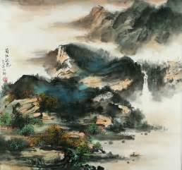 japanese landscape painting sichuan river in autumn landscape painting