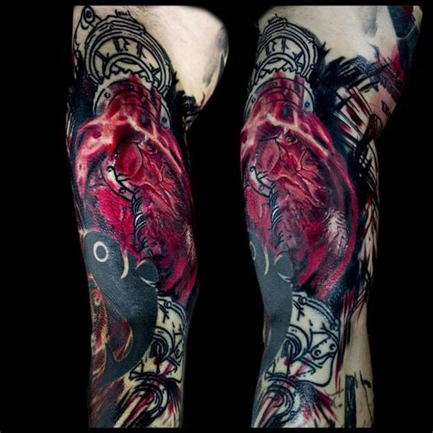 anatomical heart with drive train trash polka inspired by