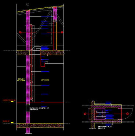 Drop Ceiling Detail Dwg by Cad Details Steel Cat Ladder Into Roof Void