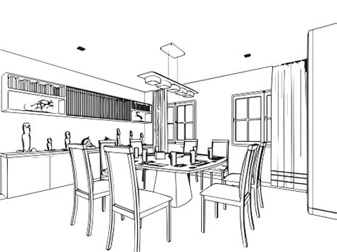 outline sketch drawing interior perspective  house stock