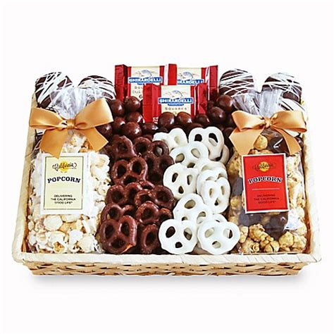 bed bath and beyond gift baskets crunch time sweet snacks gift basket bed bath beyond