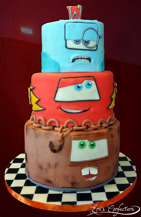 Cars 2 Cake with Tow Mater, Lightning McQueen and